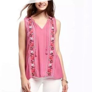 Old Navy Pink Embroidered Floral Bohemian Top Boho